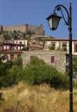在Molyvos美丽如画的村庄,在Lesvos海岛,希腊 库存照片