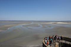 在Mont圣米歇尔,法国的潮汐海湾 库存图片