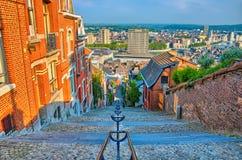 在montagne de的看法beuren与红砖房子的楼梯在L 免版税库存图片