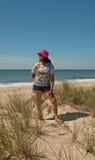 在Montauk,长岛纽约,美国的海滩天 免版税图库摄影
