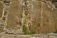 在Monte奥尔本,墨西哥废墟的被雕刻的石头  库存图片