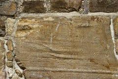 在Monte奥尔本,墨西哥废墟的被雕刻的石头  库存照片