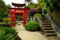在Monte宫殿热带庭院的日本门 库存图片