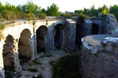 在Monte翁贝尔托的堡垒在1836年被修造了和位于接近普拉,克罗地亚 免版税库存照片