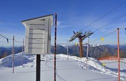 在Monte Lussari的气象台 库存图片
