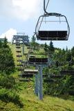 在Monte Zoncolan的滑雪电缆车在夏天11 库存图片