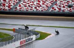在moscowraceway赛车跑道,挑战的摩托车 免版税库存照片