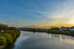 在Mosel河的美好的日落 免版税库存照片