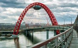 在Moskva河,莫斯科的Zhivopisny桥梁 库存图片