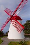在Mosteiros,亚速尔群岛的风车 免版税库存照片