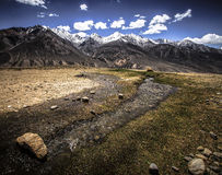 在moun的谷和积雪覆盖的峰顶的迅速小河 免版税库存图片