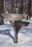 在mountian的雪的空白的箭木路标 库存照片