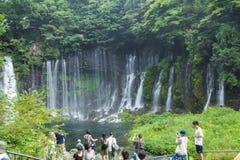 在Mt附近的Shiraito瀑布 富士在富士宫专区, Jap 图库摄影
