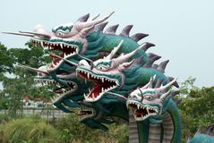 在Muang Boran,古城,曼谷,泰国,亚洲的龙雕象 免版税库存图片