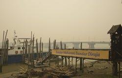 在Muar马来西亚的阴霾危险 库存图片