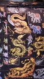 在muberry纸的亚洲艺术绘画 免版税库存照片