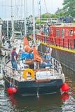 在Muirtown锁的小船 库存照片