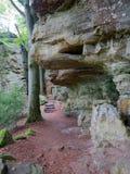 在Mullerthal足迹的Heroldt岩层在Berdorf,卢森堡 库存照片