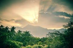 在munnar附近的日落 图库摄影