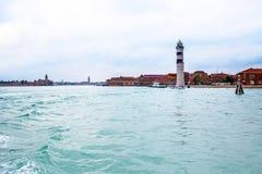 在Murano海岛的灯塔在威尼斯附近 库存照片