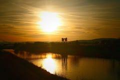 在Mures河的日落 免版税库存图片