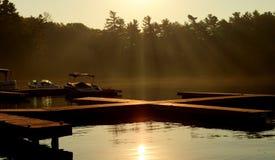 在Muskoka的太阳上升 库存照片