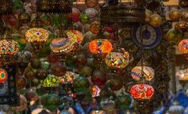 在Mutrah Souq的阿拉伯灯,在马斯喀特,阿曼 免版税库存照片