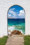 在mykonos海岛上的全景 免版税图库摄影