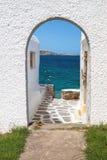在mykonos海岛上的全景 免版税库存照片