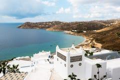 在mykonos的Elia海滩,希腊 免版税图库摄影