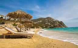 在mykonos的Elia海滩,希腊 免版税库存图片