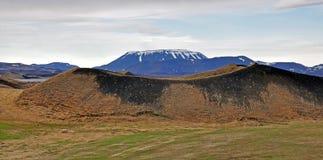 在Myvatn湖的火山 库存照片