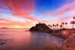 在Nacpan海滩的日落,在菲律宾 图库摄影