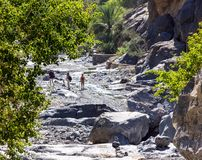 在Nakhr旱谷-阿曼的艰苦跋涉 图库摄影