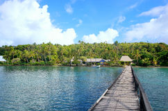 在Nananu我镭海岛,斐济的长的木码头 图库摄影