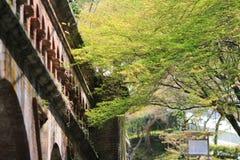 在Nanzen籍寺庙的古老渡槽在京都,日本 库存图片