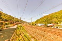 在Narai的铁路是一个小镇在长野县日本, T 免版税库存照片
