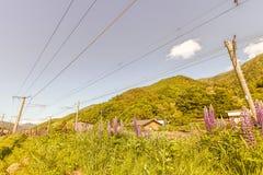 在Narai的铁路是一个小镇在长野县日本, T 库存图片