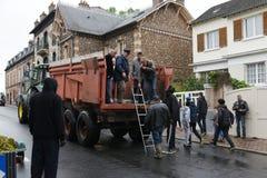 在nemours镇的洪水  免版税库存图片