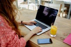 在netbook键入的文本的年轻女商人工作在现代咖啡店的早餐期间 免版税库存照片