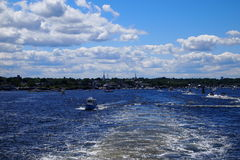 在Newburry口岸的划船 免版税库存图片