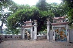 在Ngoc儿子寺庙的旅行在河内越南 图库摄影