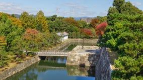 在Nijo城堡的桥梁在京都 库存照片