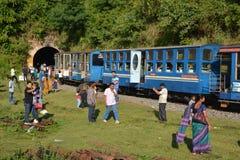 在Nilgri山的玩具火车 库存照片