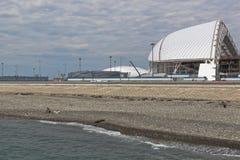 在Nizhneimertinskaya海湾在奥林匹克公园旁边,索契的海滩 库存照片