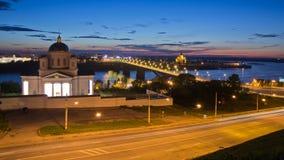 在Nizhniy Novgorod的桥梁 库存照片