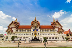 在Nonthaburi的泰国寺庙在泰国 免版税库存照片