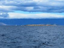 在nord亚得里亚海的海克罗地亚的多云天气 库存照片