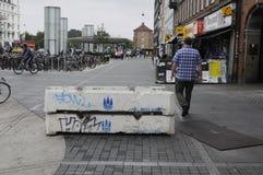 在NORREPORT火车站的水泥封锁 库存照片