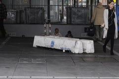 在NORREPORT火车站的水泥封锁 免版税库存照片